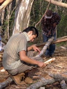 Pelando maderas con 2 técnicas: golpeando con otra madera o con coa