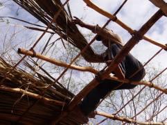 Luis acabando el techo del baño compostero con palma huano